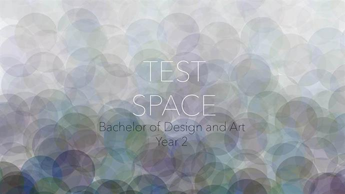 A poster featuring information about the Test Space Exhibition